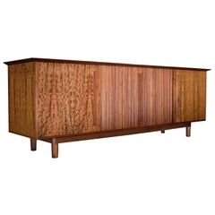 Custom Made Colossal Mid-Century Modern Tambour Door Mahogany Credenza Sideboard