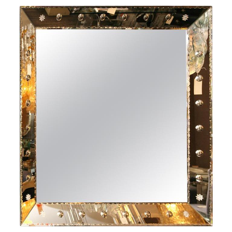 Beveled Square Ponti Mirror with Pie Crust Edge