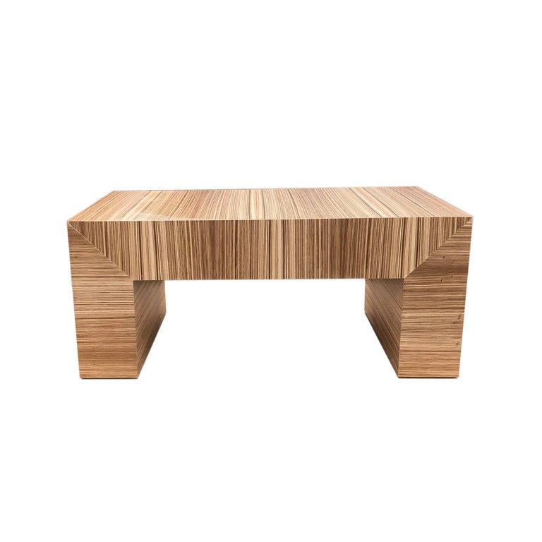 One Of A Kind Clean Sleek Lined Modern Zebra Wood Coffee Table Constructed