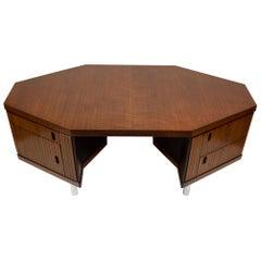 Custom Made French Ribbon Mahogany and Solid Oak Hexagonal Pierre Paulin Desk