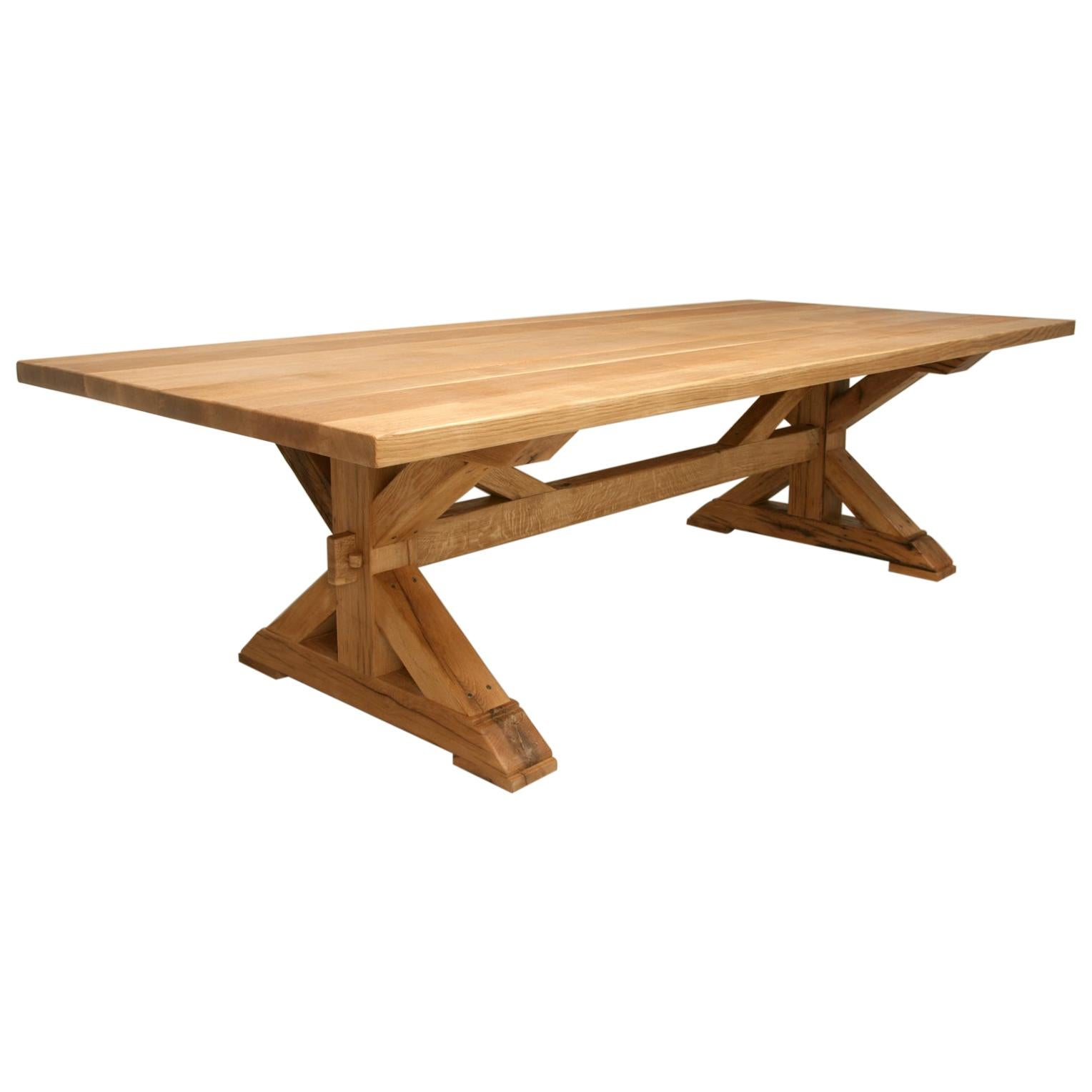Custom Made French Style Farm Table from Reclaimed White Oak in Any Dimension