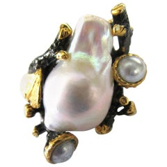 Custom Made Genuine Pearl Sterling Silver and Gilt Silver Artisan Ring