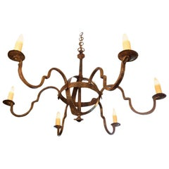 "Custom-Made, Hand Forged Iron ""Putnam"" Chandelier"