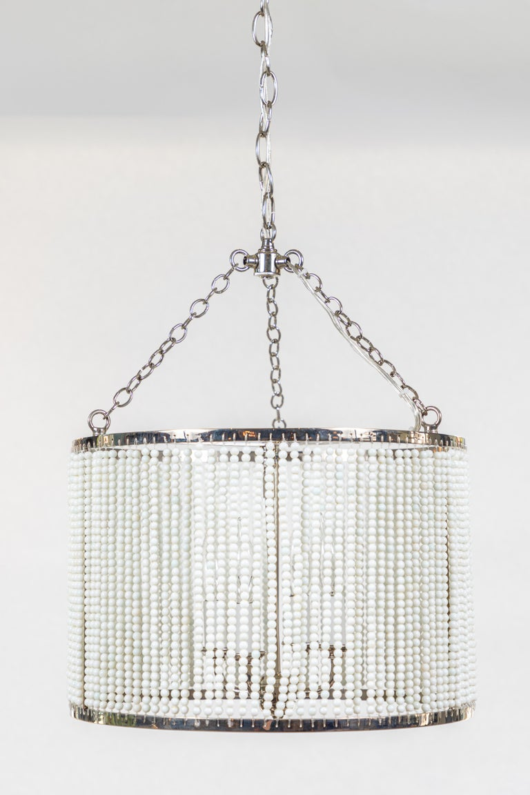 Custom Made Hanging Drum Pendant Light with Strung White Glass Bead Detailing For Sale 4