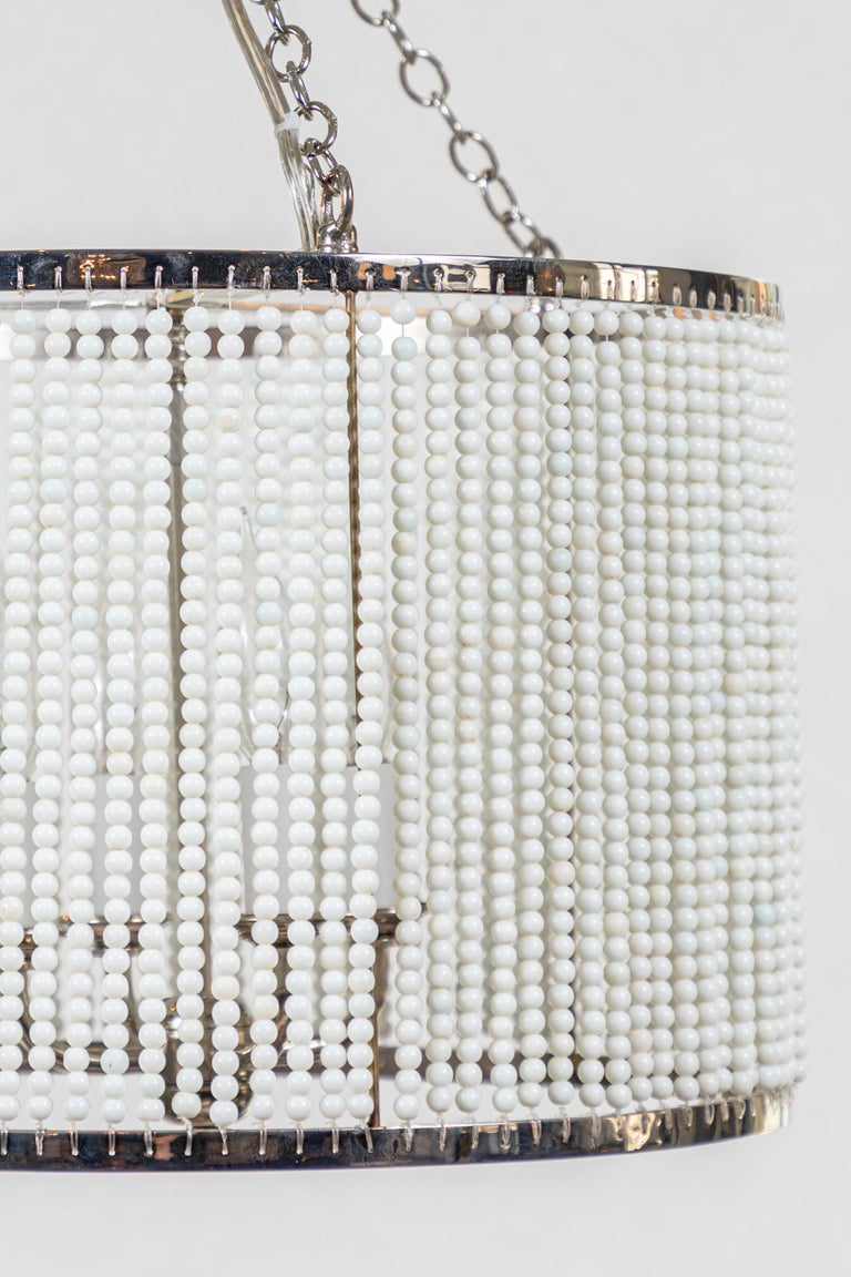 Custom Made Hanging Drum Pendant Light with Strung White Glass Bead Detailing For Sale 5