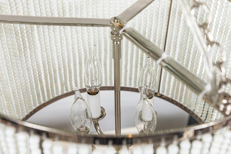 Custom Made Hanging Drum Pendant Light with Strung White Glass Bead Detailing For Sale 6
