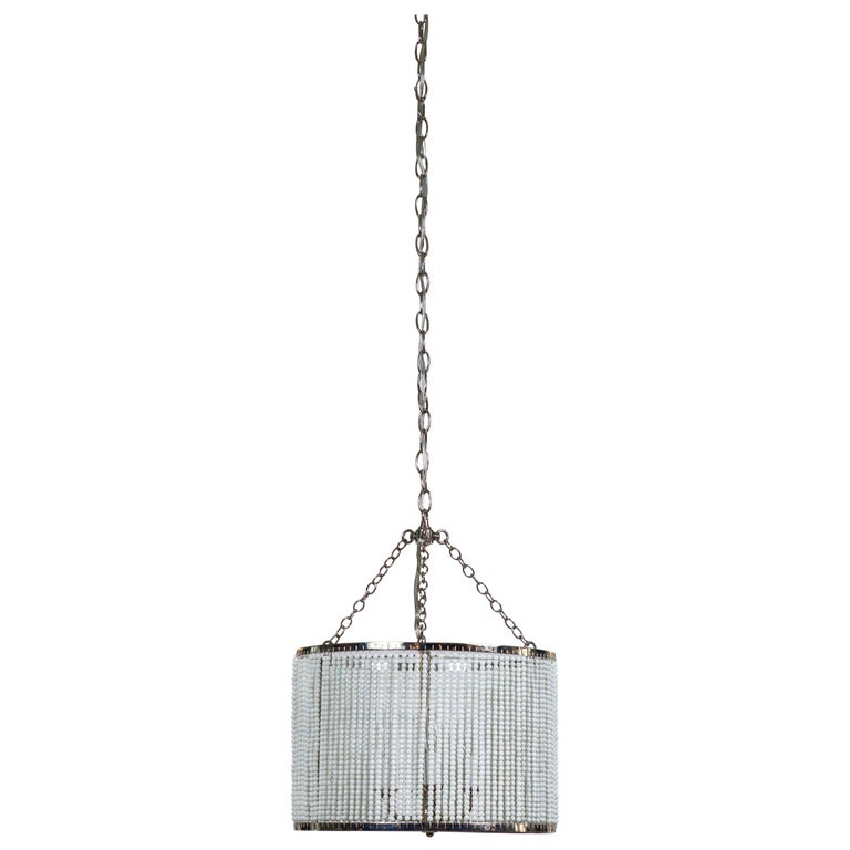 Custom Made Hanging Drum Pendant Light with Strung White Glass Bead Detailing For Sale