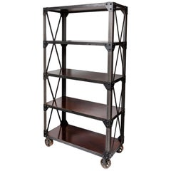 Custom Made Industrial Iron and Walnut Shelving Unit