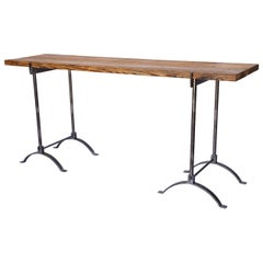 Custom Made Iron and Reclaimed Wood Console Table