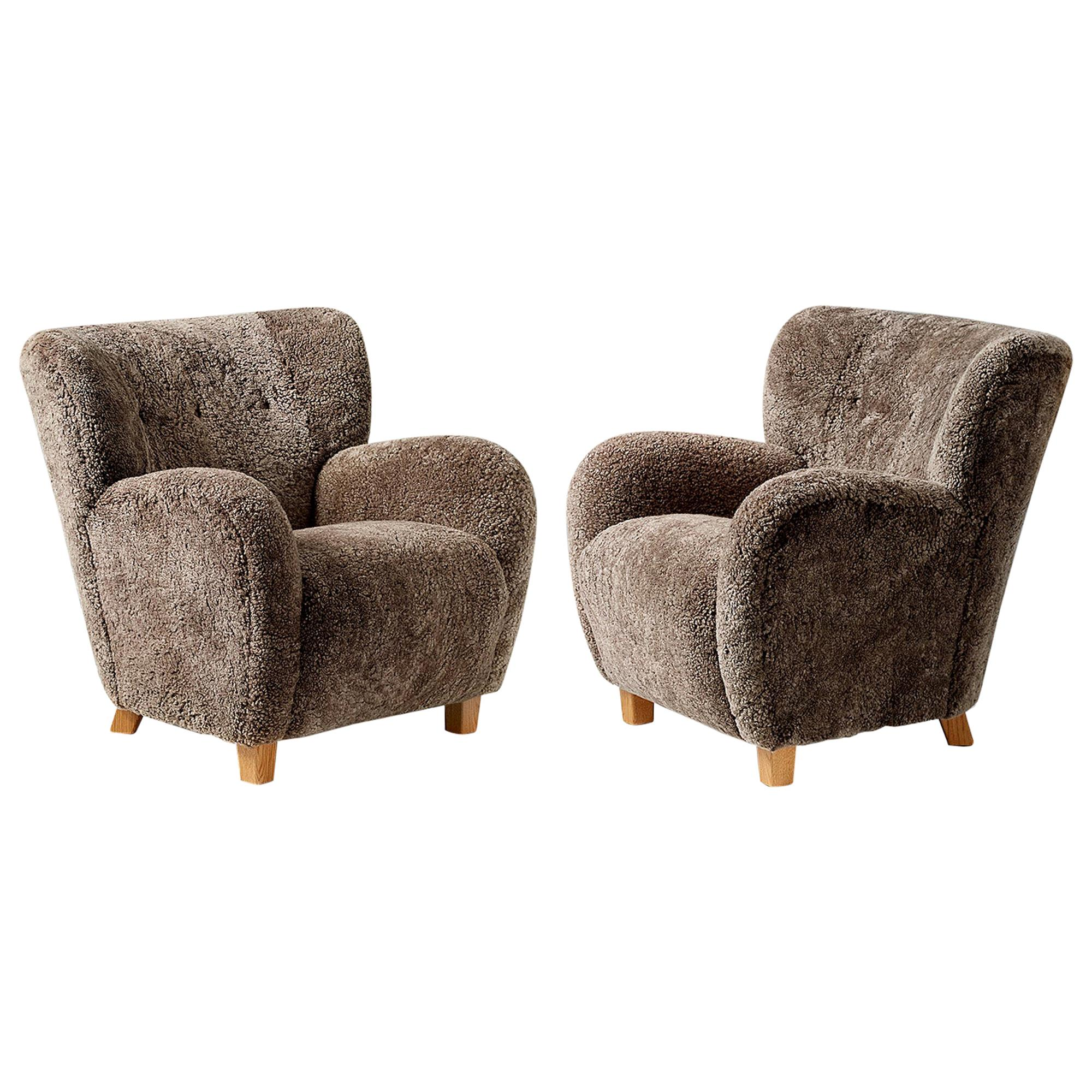 Custom Made Karu Sheepskin Lounge Chairs