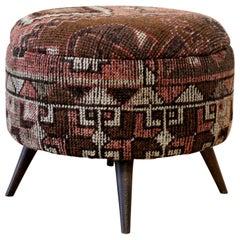 Custom Made Kilim Rug Round Ottoman