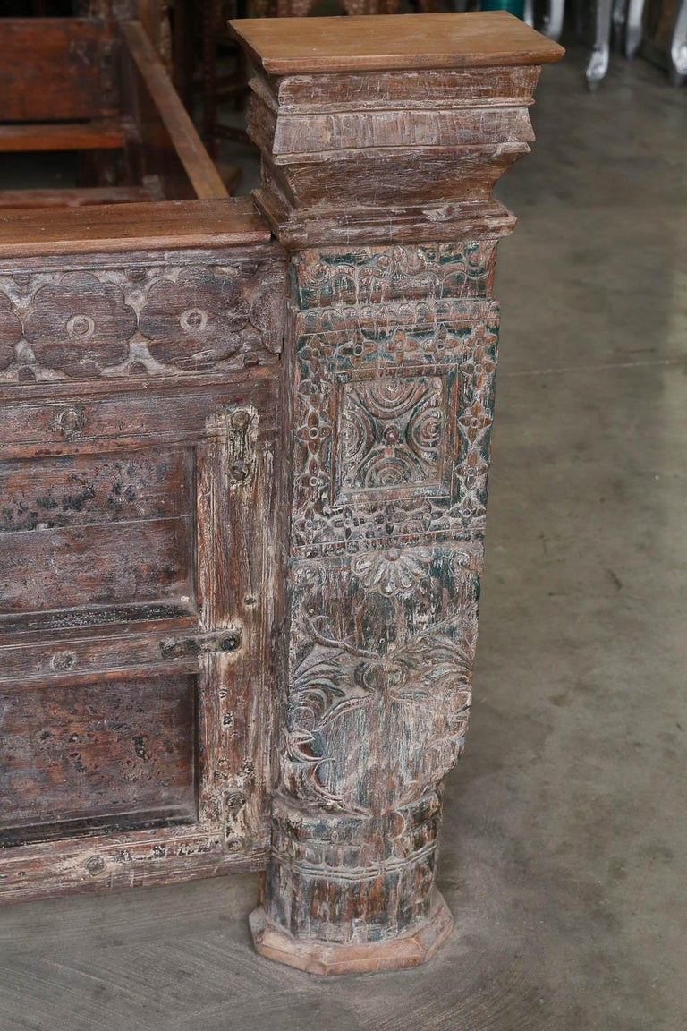 Custom Made King Size Rustic Bed Using 19th Century Carved