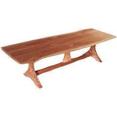 Custom Made Live Edge Walnut Trestle Table