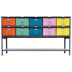 Custom Made Locker Basket Unit with Multicolored Drawers and Shelf