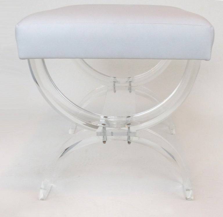 Mid-Century Modern Custom Made Lucite X-form Upholstered Bench For Sale