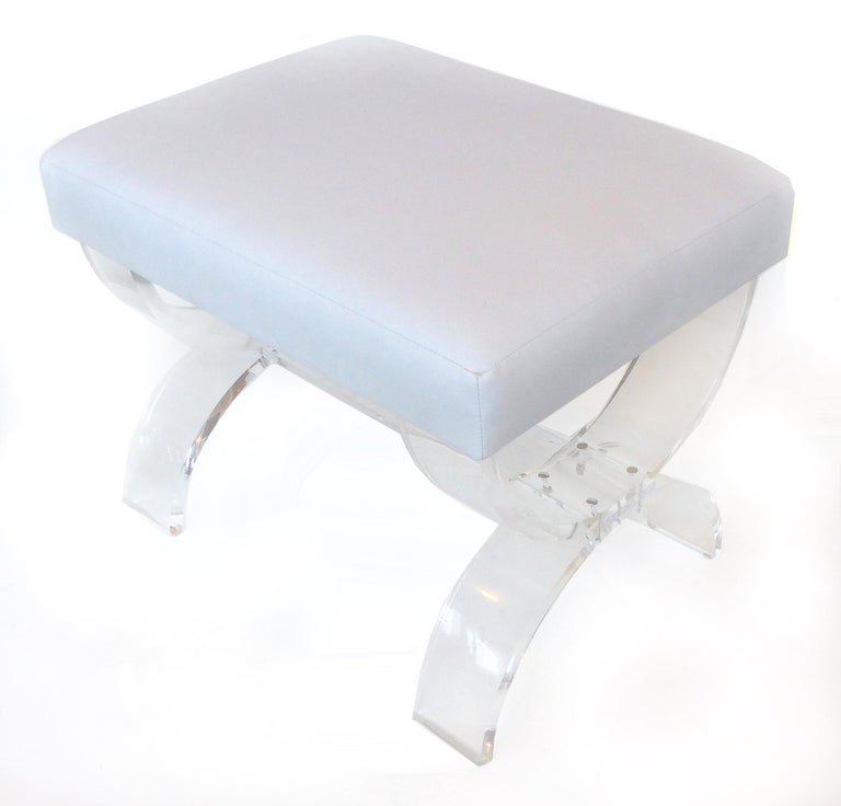American Custom Made Lucite X-form Upholstered Bench For Sale