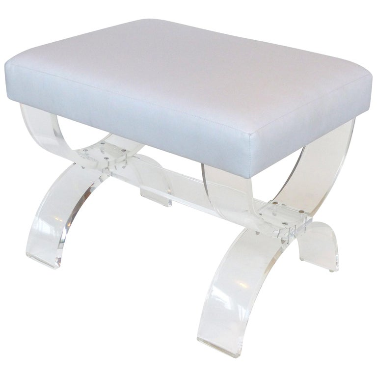 Custom Made Lucite X-form Upholstered Bench For Sale
