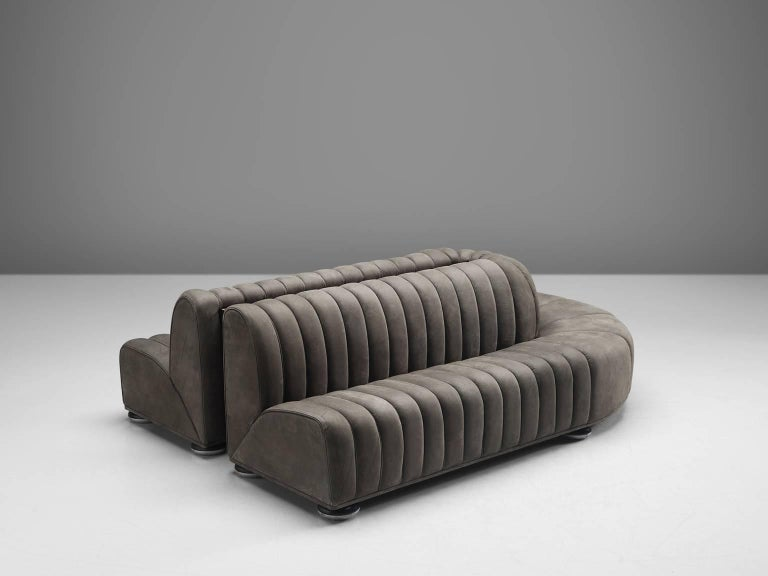 Austrian Custom-Made Luxurious Wittmann Sofa in Anthracite Leather For Sale