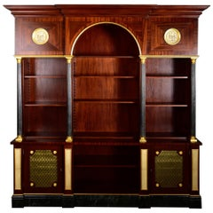 Custom Made Mahogany and Brass Neoclassical Style Triple Bookcase Cabinet