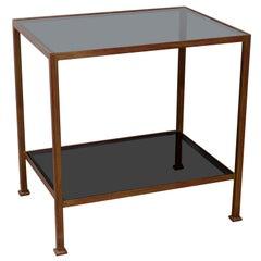 Custom Made Marcelo Side Table with Dark Grey Glass