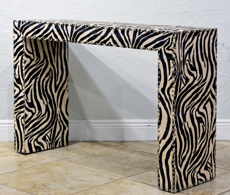 American Custom Made Mid-Century Modern Console Table with Nailhead Trimmed Zebra Print For Sale