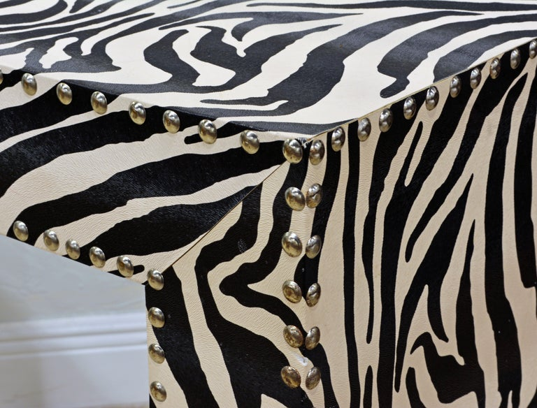 Custom Made Mid-Century Modern Console Table with Nailhead Trimmed Zebra Print In Good Condition For Sale In Ft. Lauderdale, FL