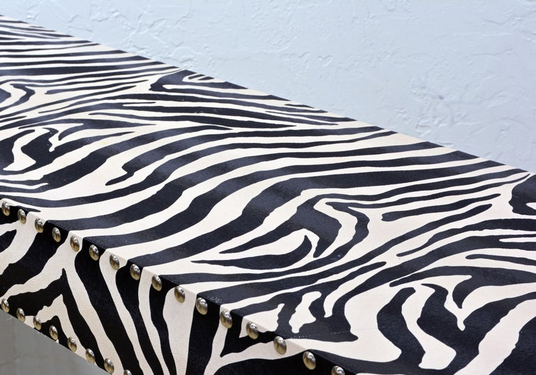 20th Century Custom Made Mid-Century Modern Console Table with Nailhead Trimmed Zebra Print For Sale