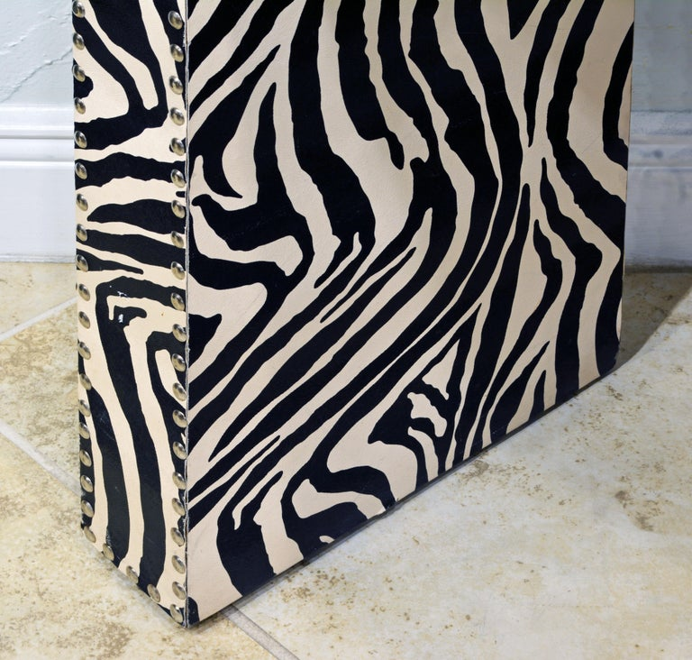 Faux Leather Custom Made Mid-Century Modern Console Table with Nailhead Trimmed Zebra Print For Sale