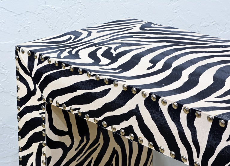 Custom Made Mid-Century Modern Console Table with Nailhead Trimmed Zebra Print For Sale 1
