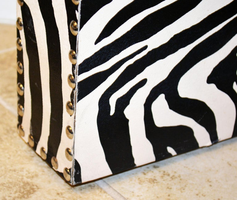 Custom Made Mid-Century Modern Console Table with Nailhead Trimmed Zebra Print For Sale 3