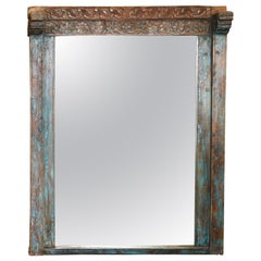 Custom Made Mirror from a Solid Teak Wood Window Frame of 1850s Settler's Home