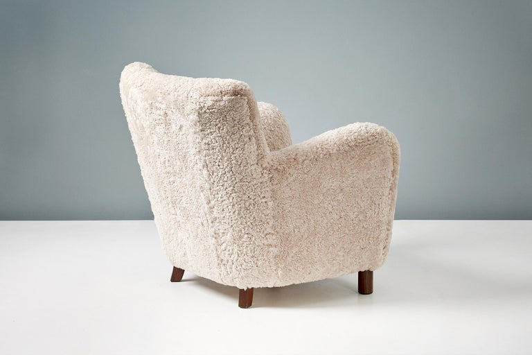 Scandinavian Modern Custom Made Model 54 Sheepskin Lounge Chair and Ottoman For Sale