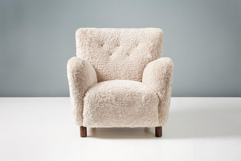 British Custom Made Model 54 Sheepskin Lounge Chair and Ottoman For Sale