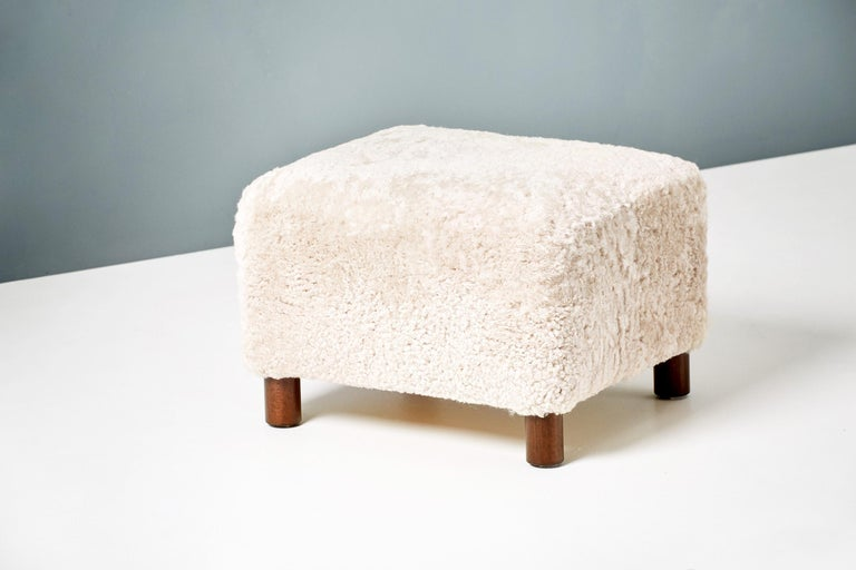 Custom Made Model 54 Sheepskin Lounge Chair and Ottoman In New Condition For Sale In London, GB