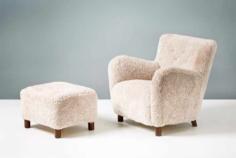 Custom Made Model 54 Sheepskin Lounge Chair and Ottoman For Sale 1