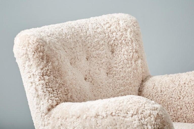 Custom Made Model 54 Sheepskin Lounge Chair and Ottoman For Sale 2