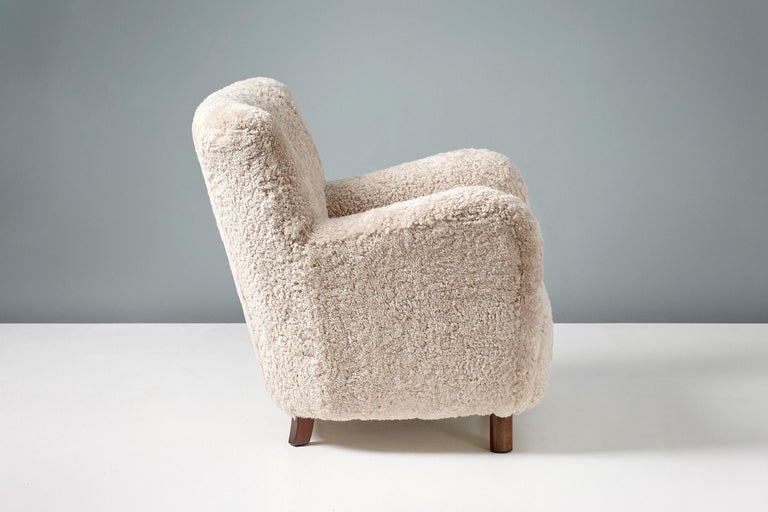 Custom Made Model 54 Sheepskin Lounge Chair and Ottoman For Sale 3
