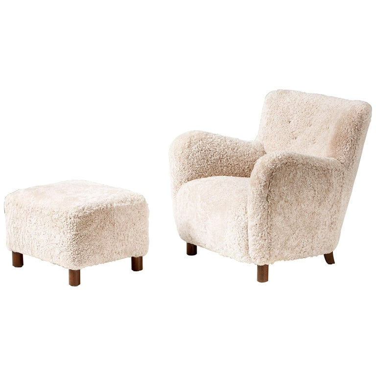 Custom Made Model 54 Sheepskin Lounge Chair and Ottoman For Sale