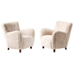 Custom Made Model 54 Sheepskin Lounge Chairs
