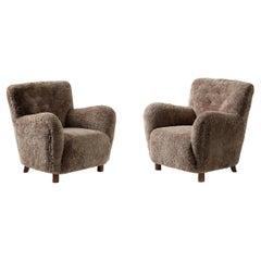 Custom Made Model 54 Sheepskin Lounge Chairs