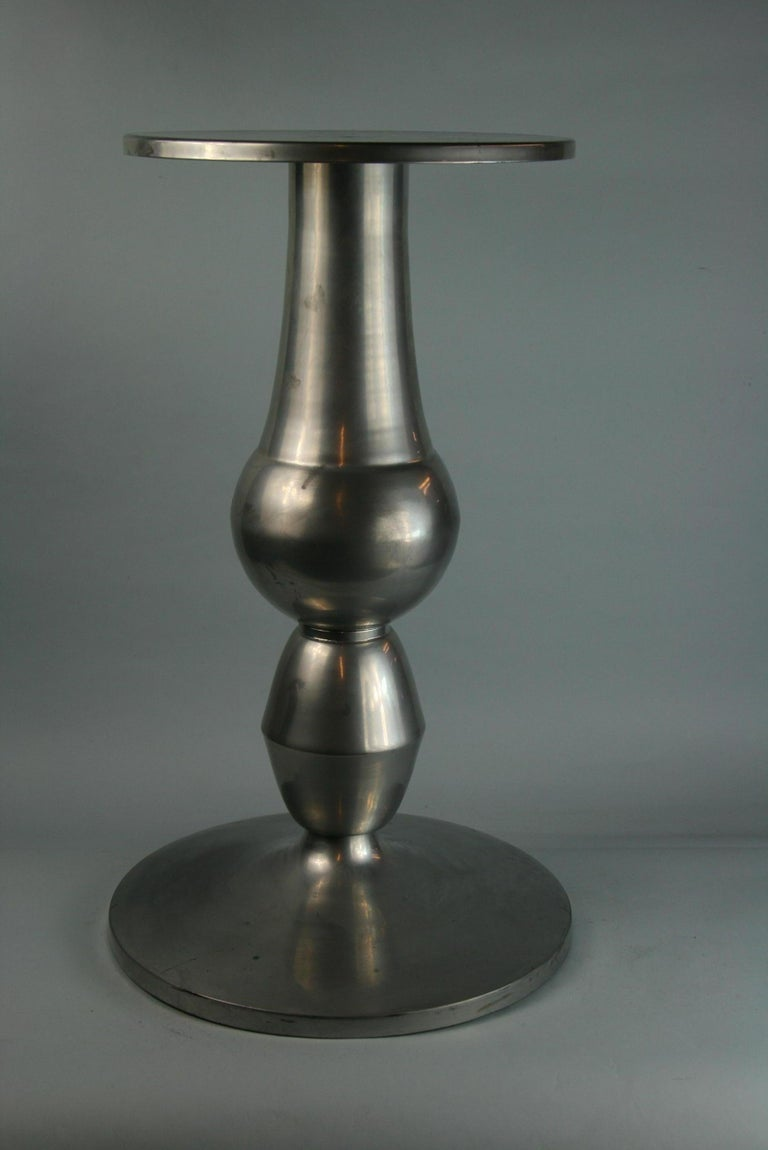 3-644 Custom made metal table can be used as a pedestal/drink table/plant stand or table base top dimension 12