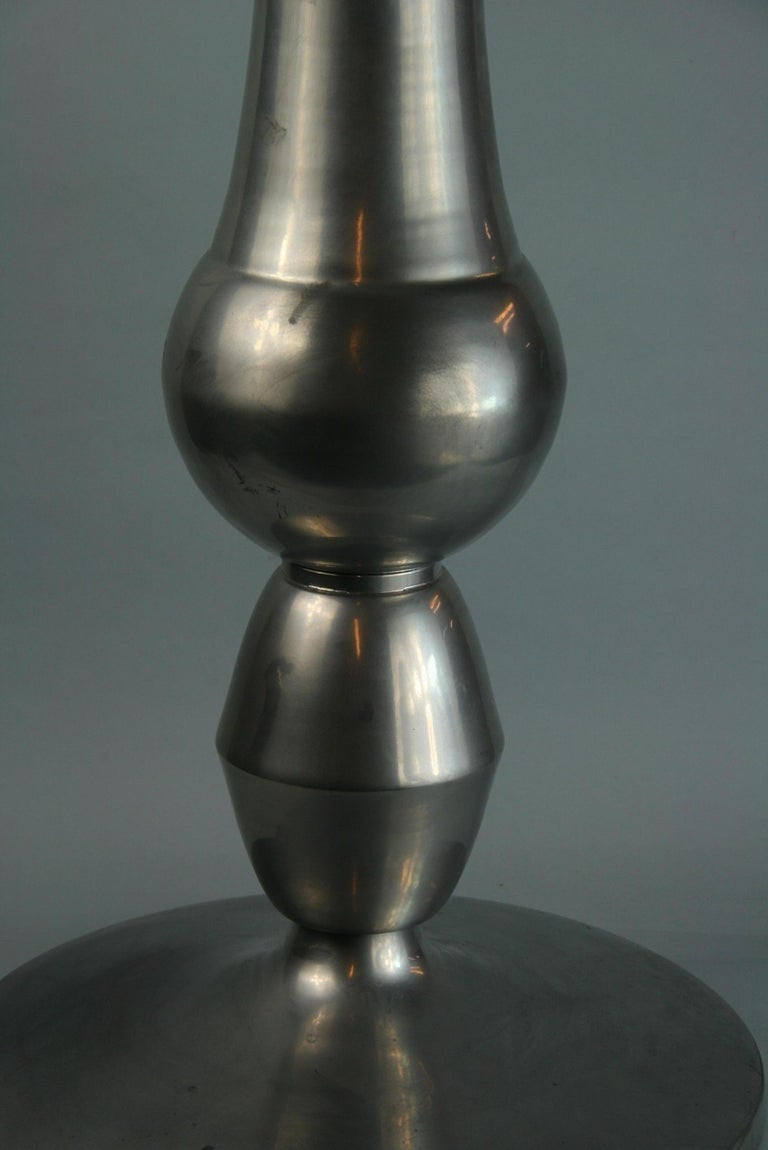 Custom Made Modern Metal Side /Drink Table or Pedestal In Good Condition For Sale In Douglas Manor, NY