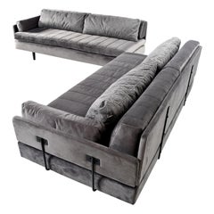 Custom Made Modern Modular Grey Velvet Daybed Sofa