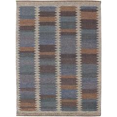 Custom-Made Modern Scandinavian Flat-Weave Rug in Charcoal, Blue, and Gray