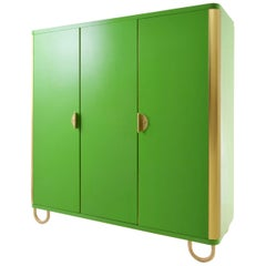 Custom Made Modernist Three-Door Wardrobe, Brass, High-Gloss Lacquered Wood