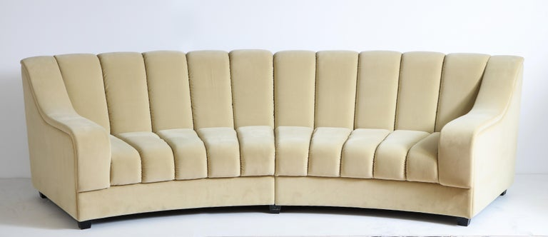 Segmented Curved Sofa in the Style of Desede in Imported Beige Velvet, Italy For Sale 8