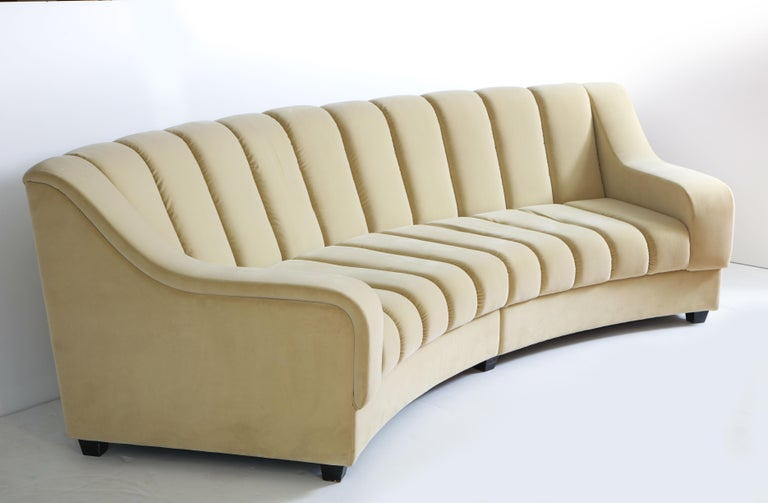 Contemporary Segmented Curved Sofa in the Style of Desede in Imported Beige Velvet, Italy For Sale