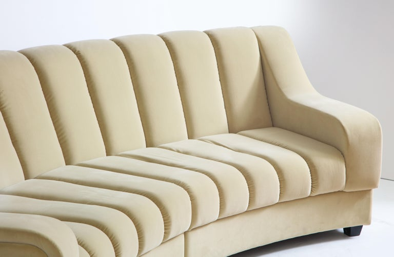 Wood Segmented Curved Sofa in the Style of Desede in Imported Beige Velvet, Italy For Sale