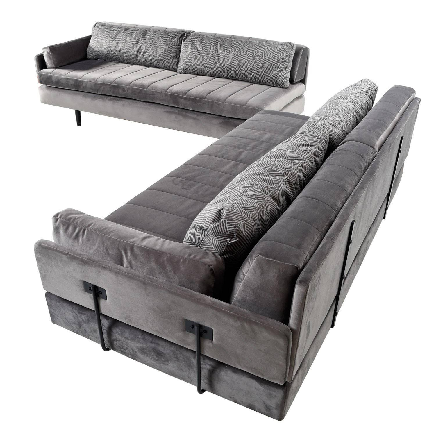 CustomMade Modular Grey Velvet Daybed Sofa Set 1960s For Sale at