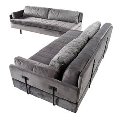Custom-Made Modular Grey Velvet Daybed Sofa